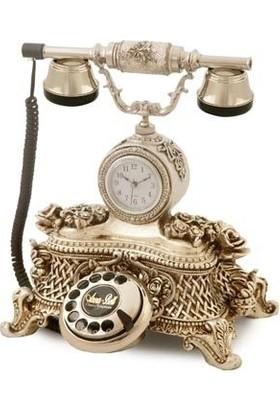 Anna Bell Saatli Güllü Varaklı Gümüş Telefon