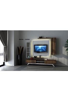 Sanal Mobilya Hayal (124568) Tv Ünitesi-Leon Ceviz/Parlak Beyaz