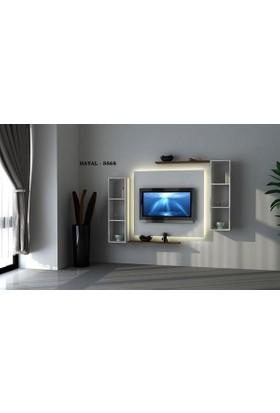 Sanal Mobilya Hayal (5568) Tv Ünitesi-Leon Ceviz/Parlak Beyaz