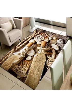 Else Halı Kumsal Deniz 3D Modern Dekoratif Salon Mutfak Halısı