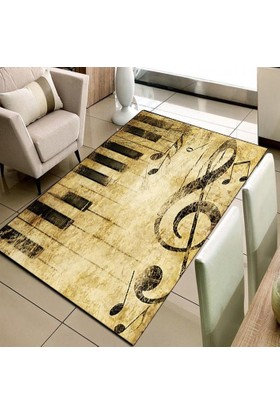 Else Halı Nota Piyano 3D Modern Dekoratif Salon Mutfak Halısı