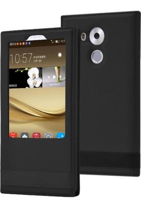 Case 4U Huawei Mate 8 Kılıf Elite Pencereli Gizli Mıknatıslı Siyah