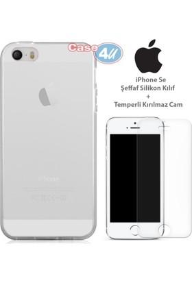 Case 4u Apple iPhone SE Silikon Kılıf Şeffaf + Cam Ekran Koruyucu