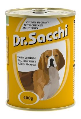 Dr.Sacchi Köpek Konserve Tavuk Ve Hindi Etli 400 Gr