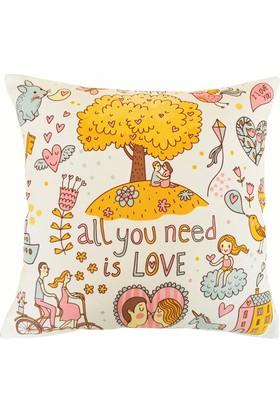 Mrs Pillow Her Zaman Sevgine İhtiyacım Var Desenli Kırlent