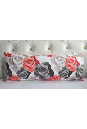 Mrs.Pillow Kırmızı Büyük Gül Desenli Uzun Bel Kırlenti