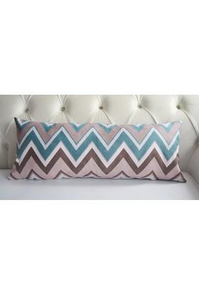 Mrs.Pillow Mavi Zigzag Desenli Uzun Bel Kırlenti