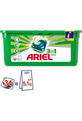 Ariel 3 ü 1 Arada Pods Sıvı Çamaşır Deterjanı Kapsülü Dağ Esintisi 34 Yıkama kk