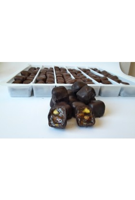 Çikolata Kaplı Antepfıstıklı Çifte Kavrulmuş Lokum Bitter Çikolata