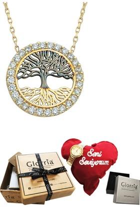 Glorria 14 Ayar Altın Hayat Ağacı Kolye - Hediye Seti
