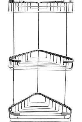 Neta Banyo Üçlü Metal Köşe Banyo Rafı / Krom