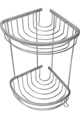 Neta Banyo İkili Metal Oval Köşe Banyo Rafı / Krom