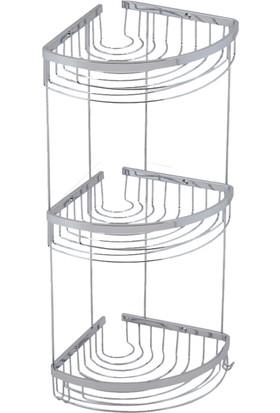 Neta Banyo Üçlü Metal Oval Köşe Banyo Rafı / Krom
