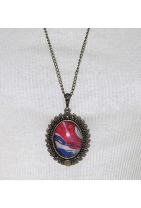 Ebru Ustası Neliman Özkarasu Koleksiyonundan Ebruli Kolye