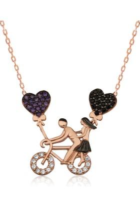 Bayan Lili Gümüş Bisikletli Aşıklar Kolye