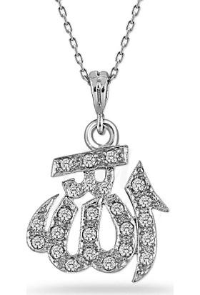 Zevahir Gümüş 925 Ayar Gümüş Allah Yazılı Kolye