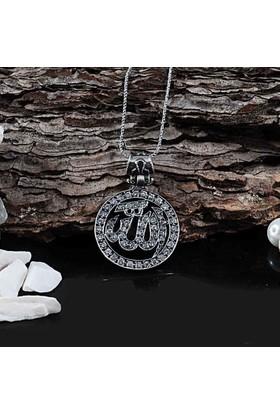 Zevahir Gümüş Taşlı Allah Yazılı Gümüş Kolye