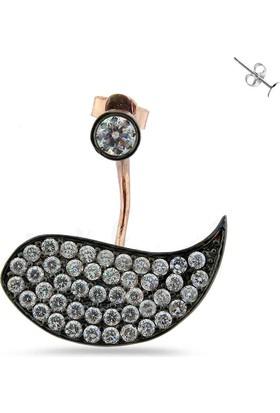 Zevahir Gümüş Taşlı Kuş Modeli Pirsing Küpe (Tek) 925 Ayar Gümüş