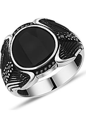 Zevahir Gümüş 925 Ayar Gümüş Mikro Ve Oniks Taşlı Erkek Yüzüğü