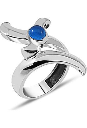 Zevahir Gümüş 925 Ayar Gümüş Mavi Taşlı Kılıç Modeli Erkek Yüzüğü