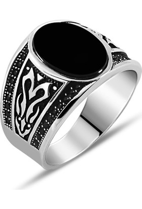 Zevahir Gümüş 925 Ayar Gümüş Oval Oniks Taşlı Erkek Yüzüğü