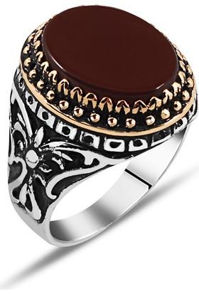 Zevahir Gümüş 925 Ayar Gümüş Oval Akik Taşlı Erkek Yüzüğü