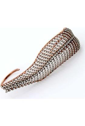 Zevahir Gümüş Çift Parmak Tasarım Yaprak Modeli Yüzük 925 Ayar Gümüş