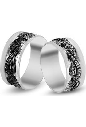 Anı Yüzük Sonsuzluk Motifli Gümüş Alyans Çifti
