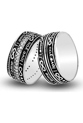 Anı Yüzük Seni Seviyorum Yazılı Gümüş Alyans Çifti