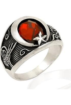 Işık Ay Yıldızlı Kırmızı Zirkon Taşlı Tuğralı Gümüş Yüzük