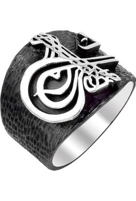 Işık Osmanlı Devleti Tuğralı Siyah 925 Ayar Gümüş Yüzük