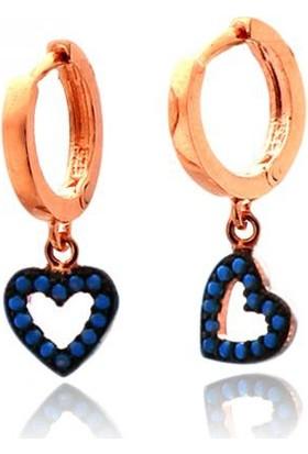 Anı Yüzük Mavi Taşlı Kalp Figürlü Küpe