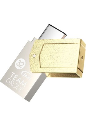 Team M161 32GB USB3.1 Type-C Bellek (Altın Rengi)(85MB/s Okuma / 20MB/s Yazma)