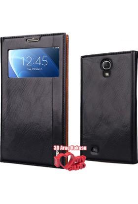 Coverzone Samsung Galaxy Mega Kılıf İ9200 Pencereli Magnum Deri Siyah + 3D Araç Kokusu