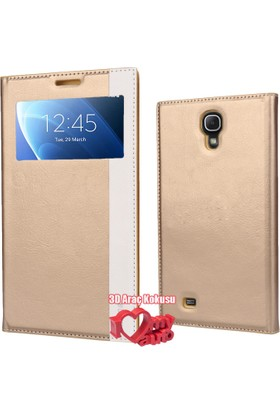 Coverzone Samsung Galaxy Mega Kılıf İ9200 Pencereli Magnum Deri Gold + 3D Araç Kokusu