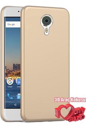 Coverzone General Mobile Gm5 Kılıf Slim Fit Silikon Gold + 3D Araç Kokusu