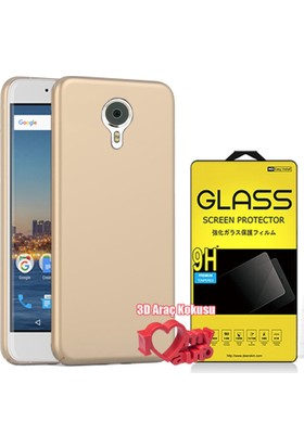 Coverzone General Mobile Gm5 Plus Kılıf Slim Fit Silikon Gold + + 3D Araç Kokusu