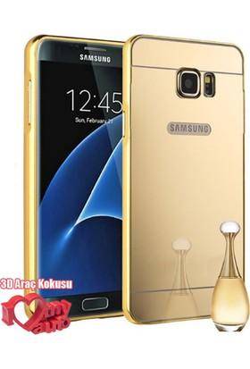 Coverzone Samsung Galaxy On7 Kılıf Aynalı Bumper Çerçeve Gold + 3D Araç Kokusu