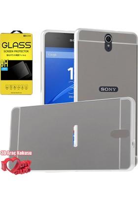 Coverzone Sony Xperia C5 Ultra Kılıf Aynalı Bumper Kılıf Gümüş + + 3D Araç Kokusu