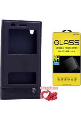 Coverzone Huawei Y6 2 Kılıf Çift Pencereli Elite Siyah + + 3D Araç Kokusu