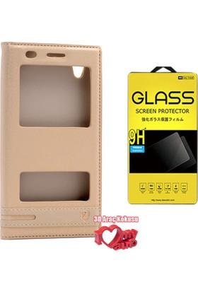 Coverzone Huawei Y6 2 Kılıf Çift Pencereli Elite Gold + + 3D Araç Kokusu