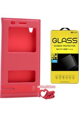 Coverzone Huawei Y6 2 Kılıf Çift Pencereli Elite Kırmızı + + 3D Araç Kokusu
