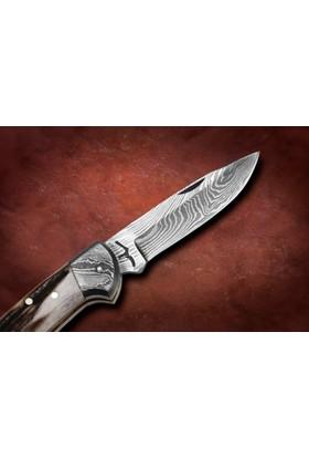 Bora M 201 Orta Boy Düz ağızlı Kilitli Damascus Çelik Boynuz Saplı Çakı