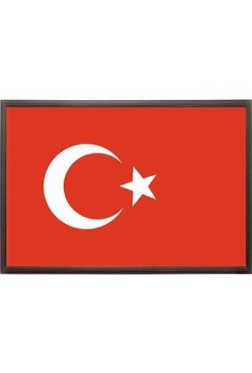 Martı Türk Bayrağı 25x35 MDF Çerçeve Duvara Monte Bayrak