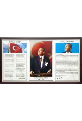 Martı Üçlü Milli Levha 50x90 MDF Çerçeve Atatürk Portresi + İstiklal Marşı + Gençliğe Hitabe