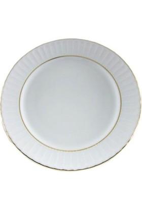Güral Porselen Yaldızlı Çukur Yemek Tabağı 19 Cm 12 Adet