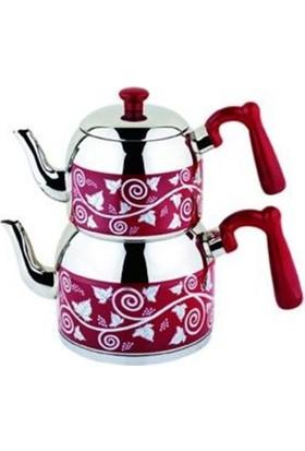 Özkent Menekşe Desenli Çaydanlık Takımı Mini