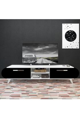 Eyibil Mobilya 180 cm Modern Kapaklı Tv Sehpası Tv Ünitesi Beyaz-Siyah