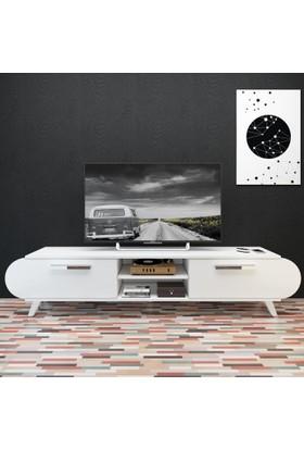 Eyibil Mobilya 180 cm Modern Kapaklı Tv Sehpası Tv Ünitesi Parlak Beyaz