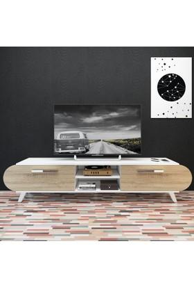 Eyibil Mobilya 180 cm Modern Kapaklı Tv Sehpası Tv Ünitesi Beyaz-Meşe